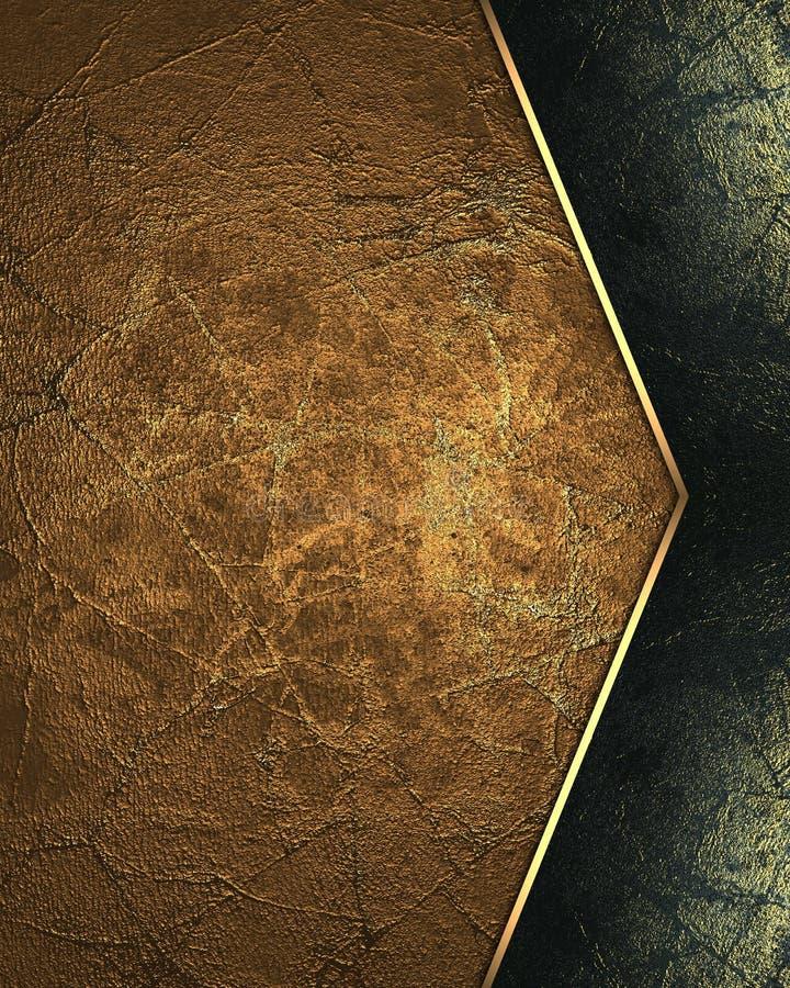Brun metall med svart garnering Beståndsdel för design Mall för design kopiera utrymme för annonsbroschyr eller meddelandeinbjuda royaltyfria bilder