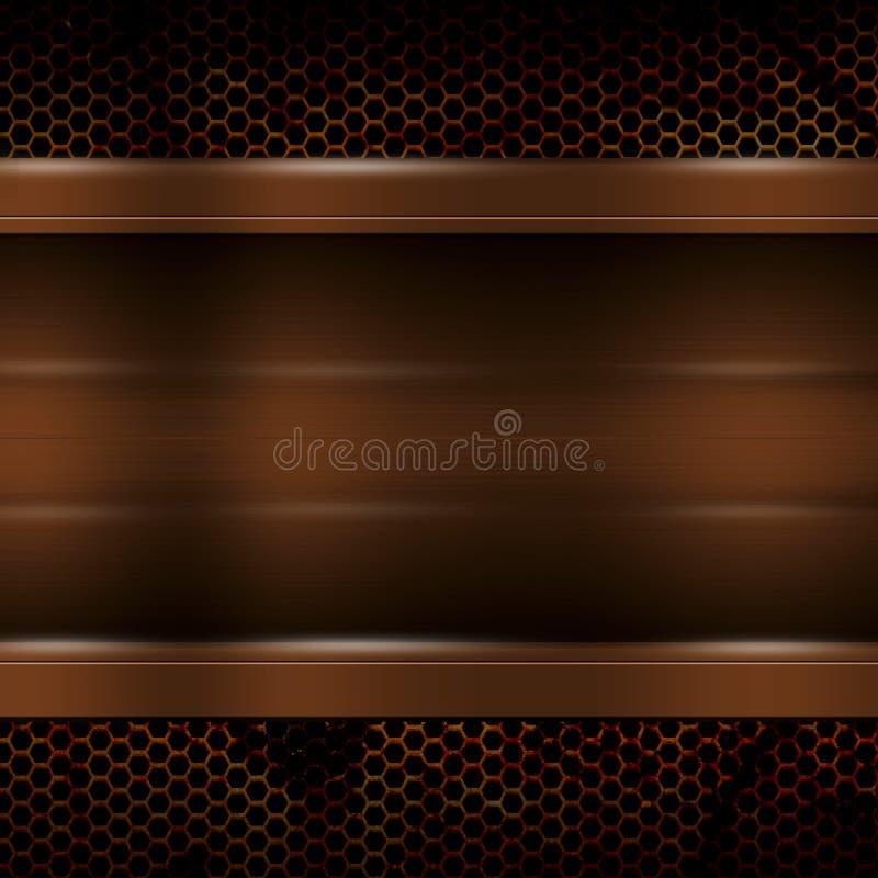 Brun metallplatta på det rostiga metalliska ingreppet för bakgrund och textur stock illustrationer
