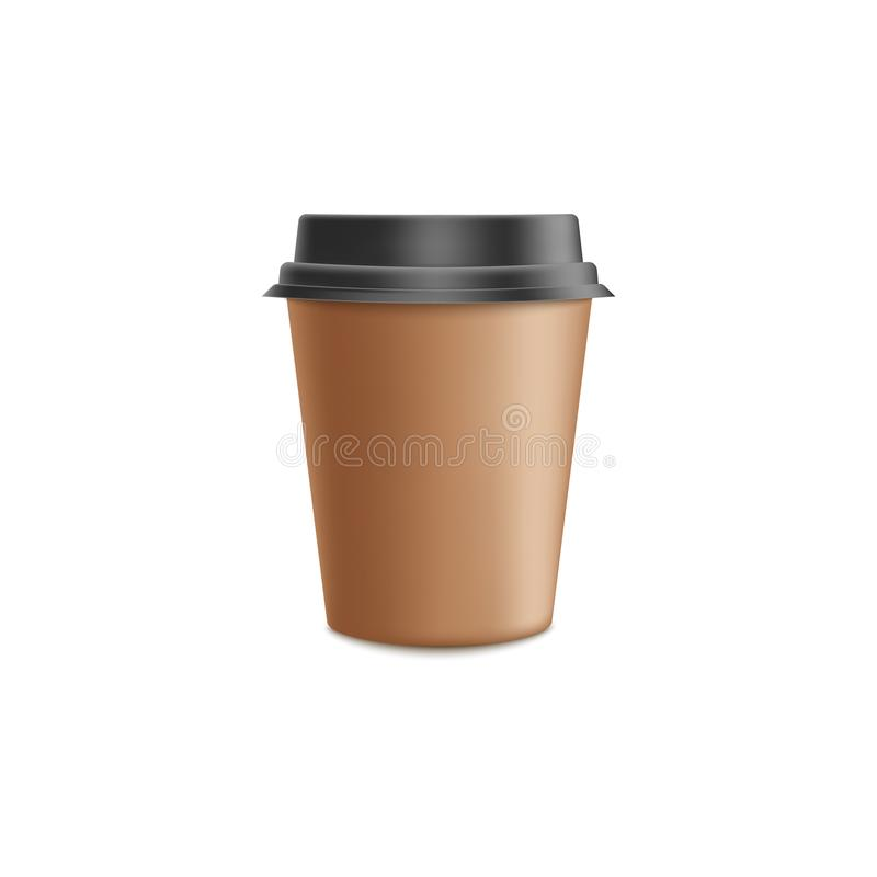 Brun modell för kopp för hantverkpapperskaffe i realistisk illustration för vektor 3d - mellanrumet rånar med det svarta plast- l vektor illustrationer
