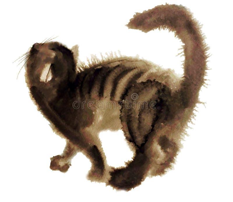 Brun mycket päls- katt royaltyfri illustrationer