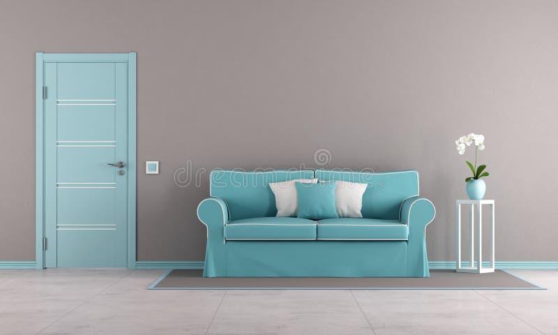 Brun och blå vardagsrum stock illustrationer