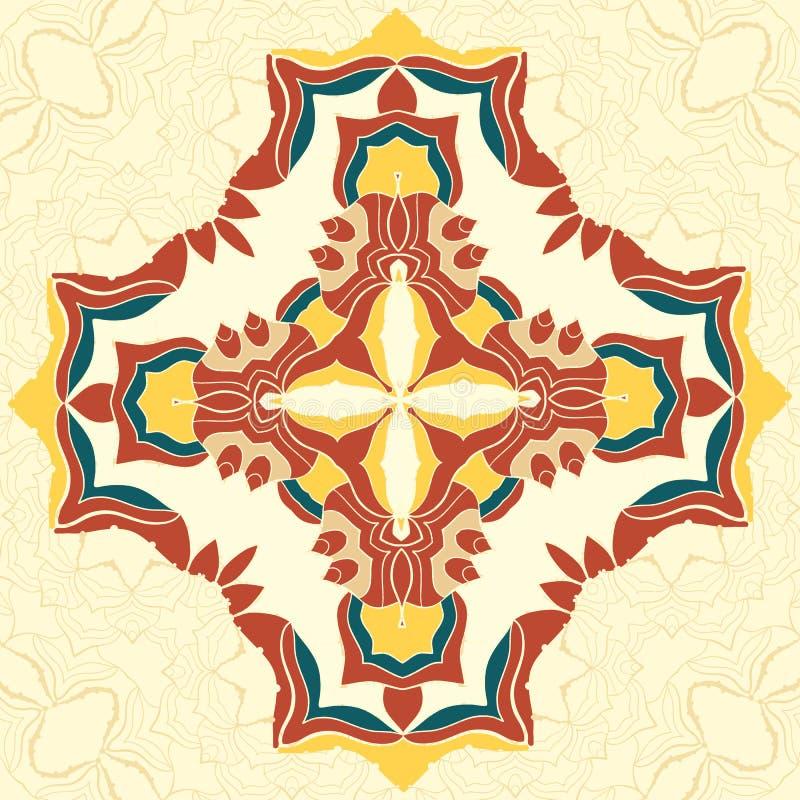 Brun och gul vektorMandala Den dekorativa beståndsdelen för din design, snör åt prydnaden, rund modell per massor av detaljer vektor illustrationer