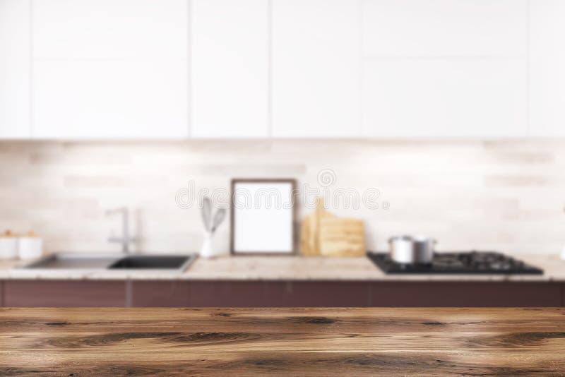 Brun och vit kökcountertop, affischsuddighet royaltyfri illustrationer