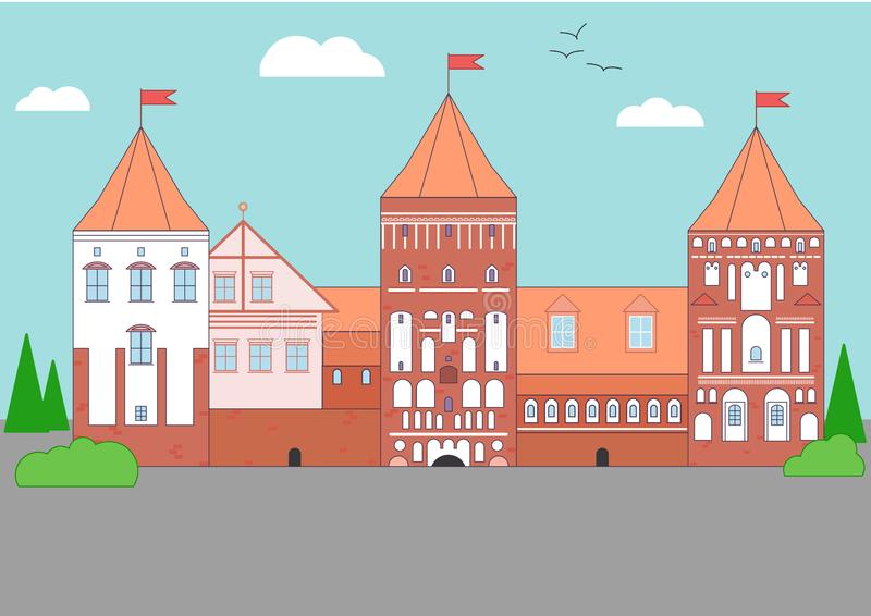 Brun och vit slott för Vecor ljus - stock illustrationer