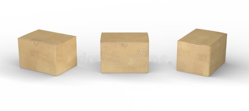 Brun pappers- ask som förpackar med den snabba banan vektor illustrationer