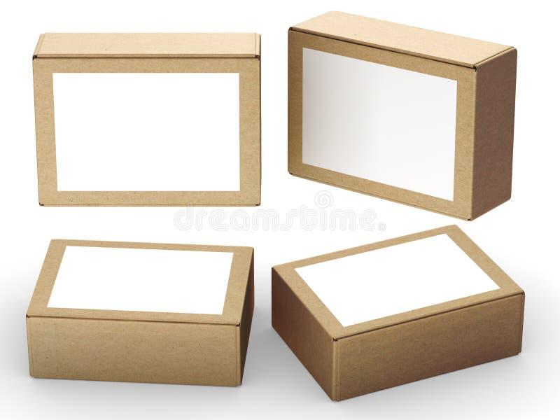 Brun pappers- ask som förpackar med den vita etiketten royaltyfri illustrationer