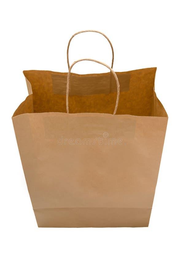 Brun pappers- påse från kraft papper öppna packen Iso för shoppingpåse royaltyfri illustrationer