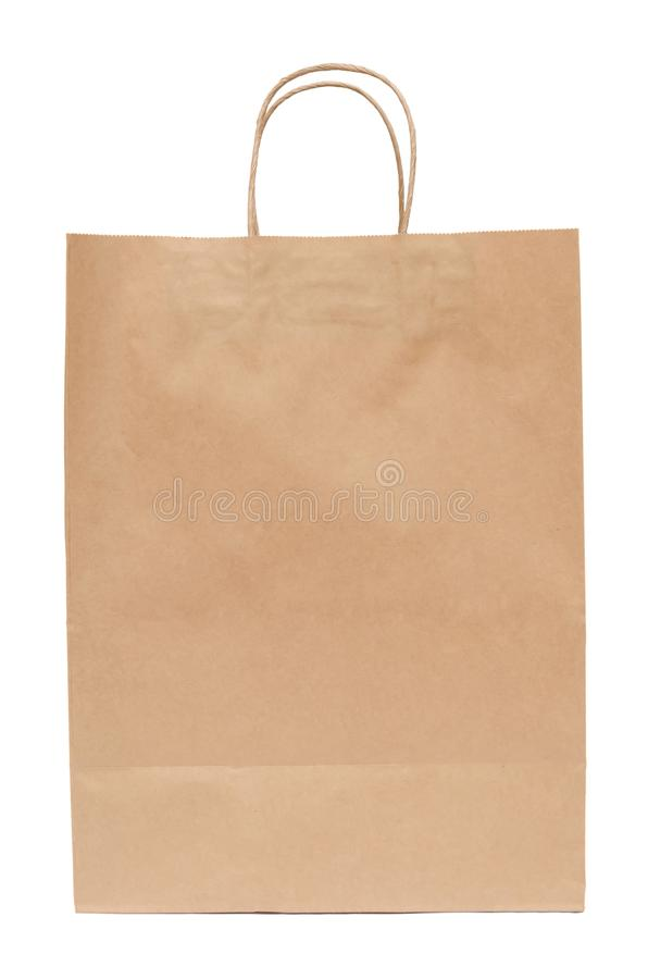 Brun pappers- påse från kraft papper påse isolerad shoppa white royaltyfria bilder