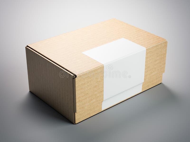 Brun papppacke med den tomma klistermärken framförande 3d stock illustrationer