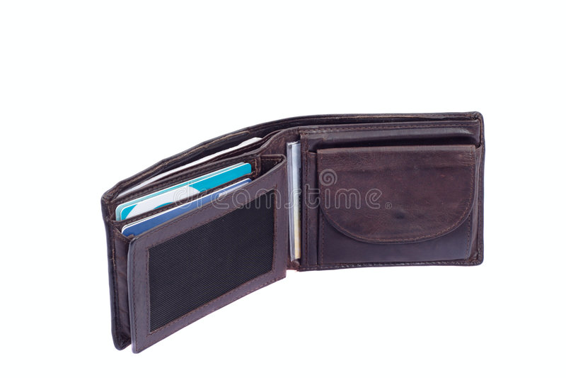 brun plånbok royaltyfri foto