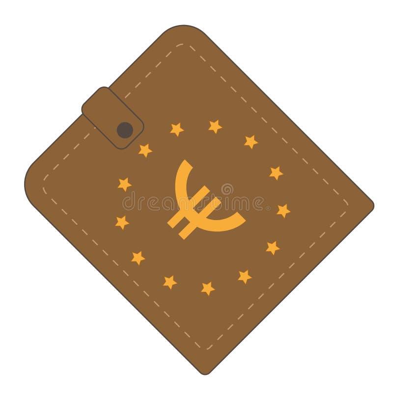 Brun plånbok med det Europa Unian symbolet royaltyfri illustrationer