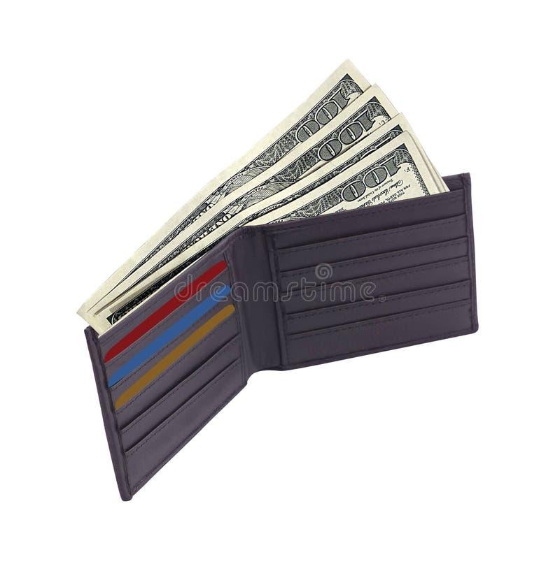 Brun plånbok med kreditkortar och dollar arkivfoton