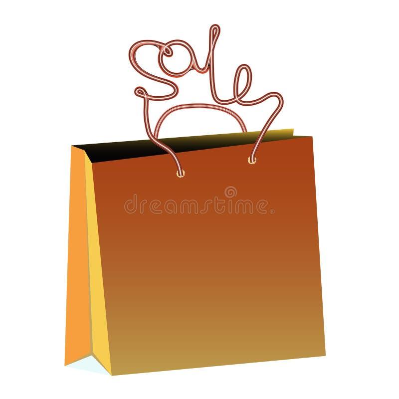 Brun realistisk omfångsrik pappers- shoppingpåse för köp med rephandtag i form av en inskriftförsäljning på en vit backgr royaltyfri illustrationer