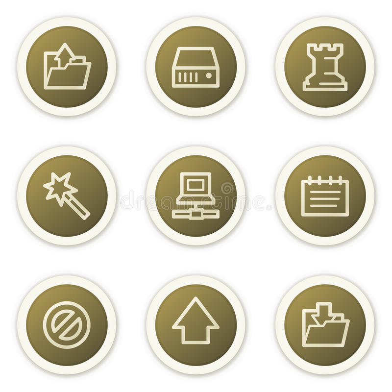 brun rengöringsduk för serie för symboler för knappcirkeldata vektor illustrationer