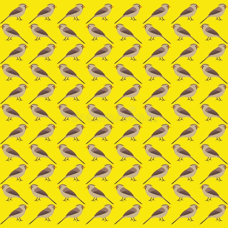 Brun sömlös fågelmodell för vinter royaltyfri illustrationer