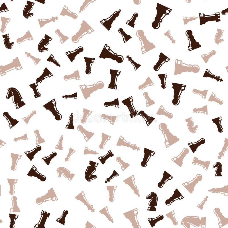 Brun sömlös modell för schackstycken vektor illustrationer