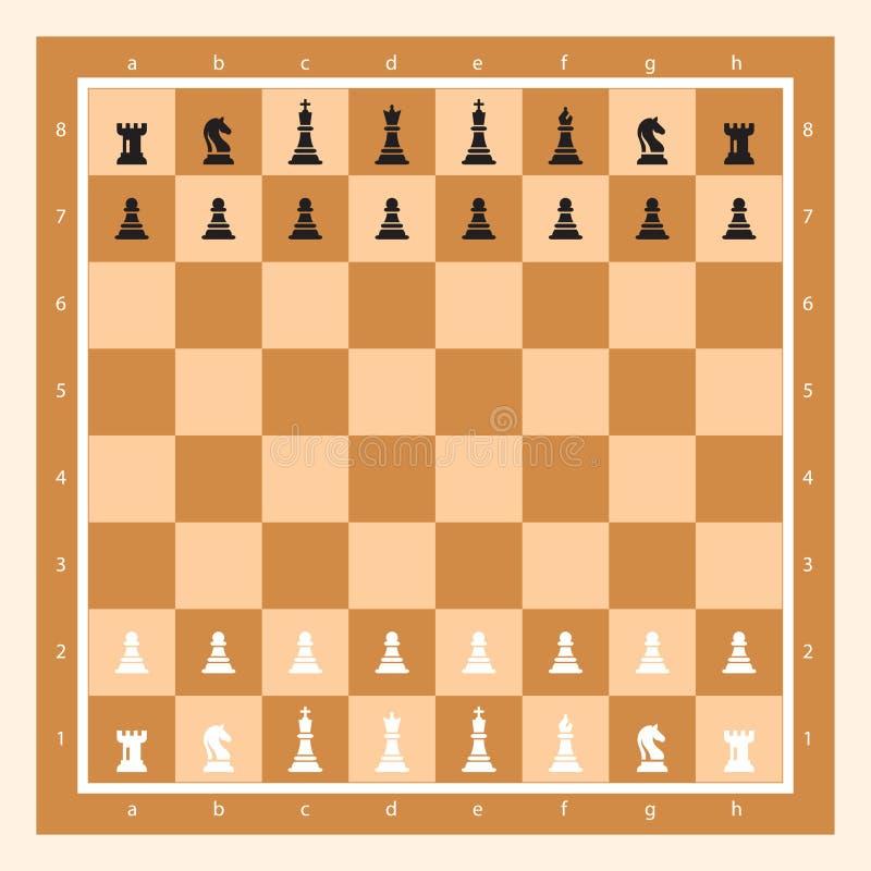 Brun schackbräde med Chess Figurine Algebraic Notation Bild på Chess Game Vector stock illustrationer