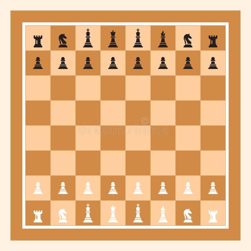 Brun schackbräde med Chess Figurine Bild på Chess Game Vector vektor illustrationer