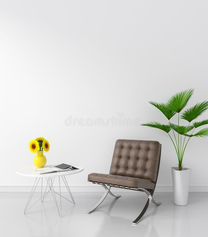 Brun stol i vitt rum för modellen, tolkning 3D arkivfoto