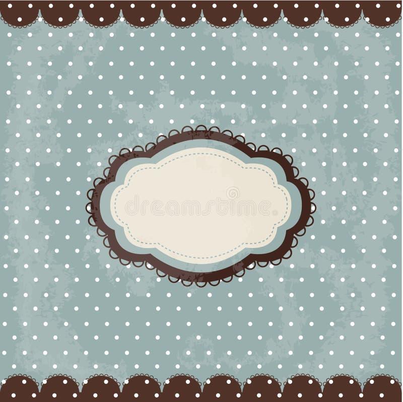 brun tappning för polka för designprickram royaltyfri illustrationer