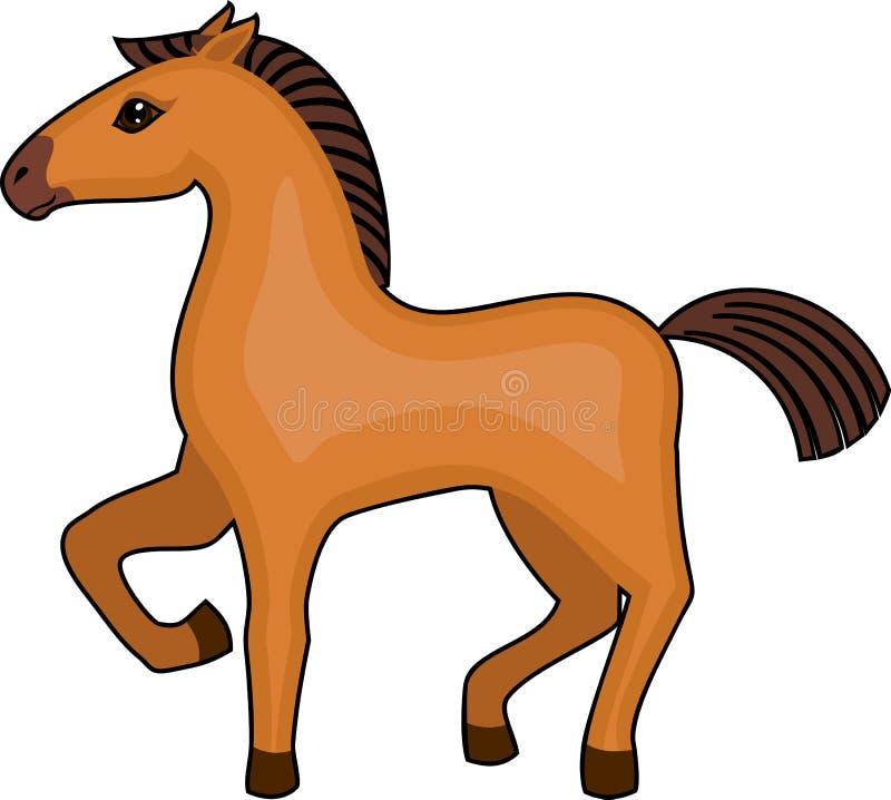 Brun tecknad filmhäst med det lyftta främre benet på vit bakgrund vektor illustrationer