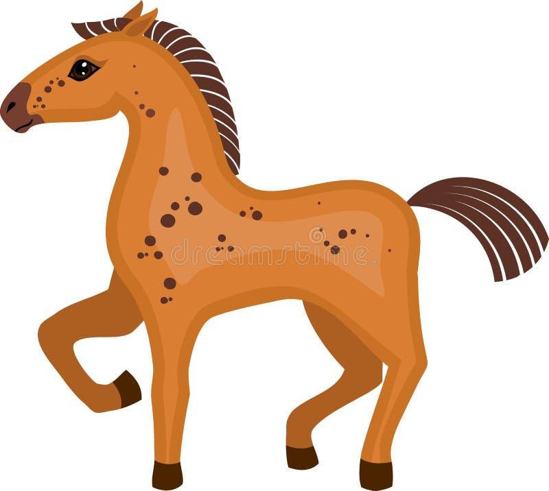 Brun tecknad filmhäst med det lyftta främre benet på vit bakgrund stock illustrationer