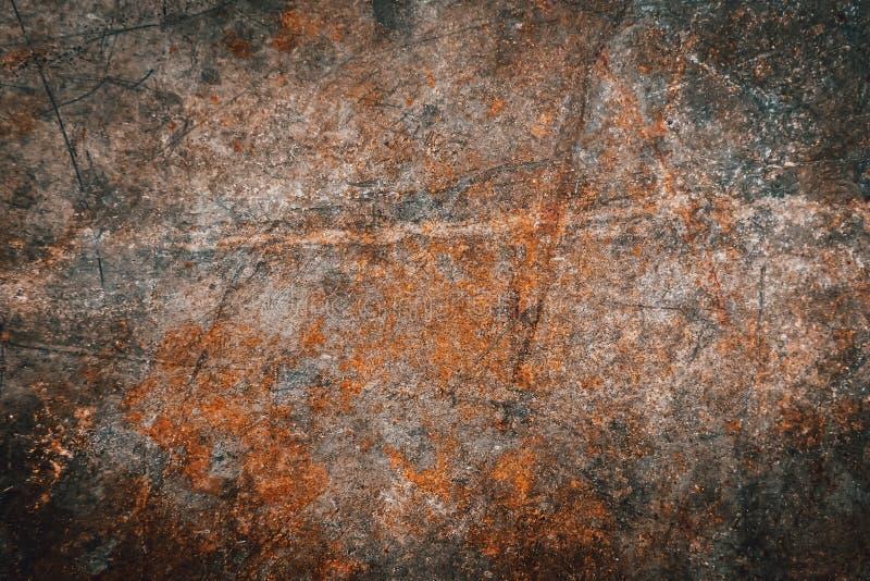 Brun textur för bakgrund för metallrostgrunge Rostat gammalt, tappning, retro bakgrundstextur på brun metall eller järnplattaytte royaltyfri foto