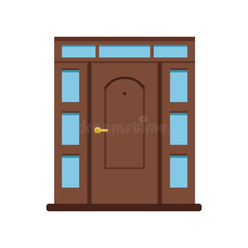 Brun träingångsdörr för klassiker som ska inhysas, stängd elegant dörrvektorillustration royaltyfri illustrationer
