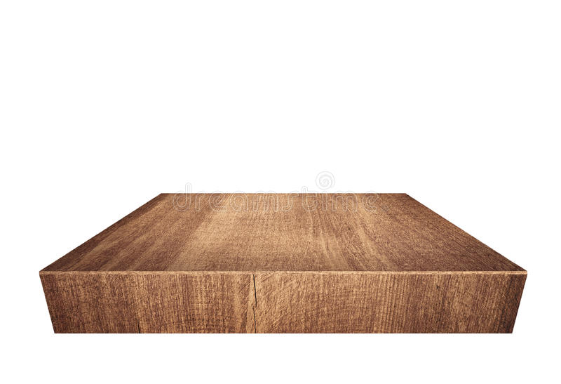 Brun träplanka, tabletop som isoleras på vit bakgrund royaltyfri fotografi
