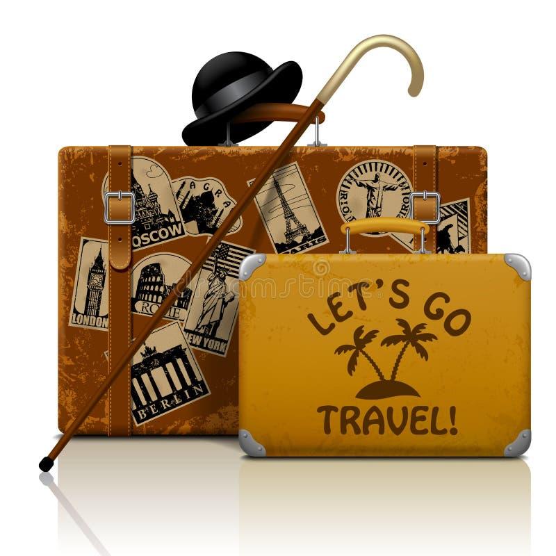 Brun trådsliten resväska för tappning med samlingen av retro grung royaltyfri illustrationer