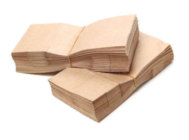 Brun uppsättning för pappers- påse arkivfoton