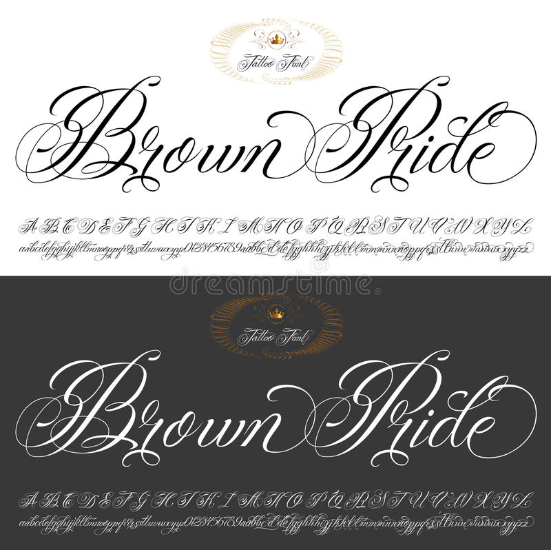 Brun uppsättning för stolthettatueringmaskinskrivet manuskript royaltyfri illustrationer