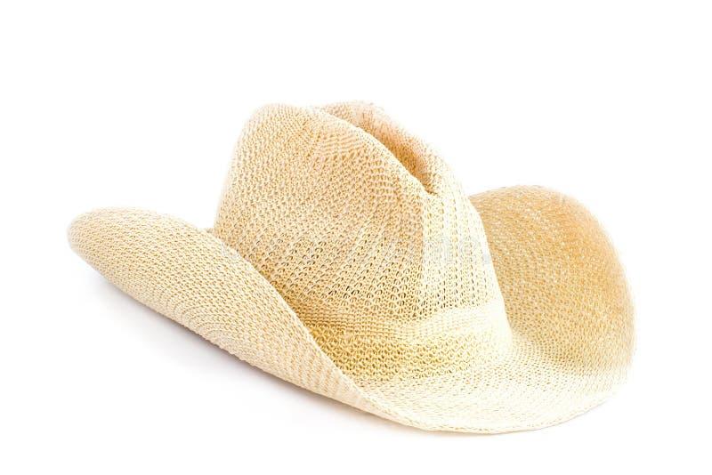 Brun väva hatt som isoleras på vit arkivbilder