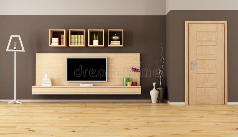 Brun vardagsrum med ledd TV stock illustrationer