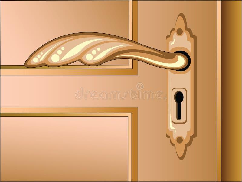 brun vektor för dörrhandtag stock illustrationer