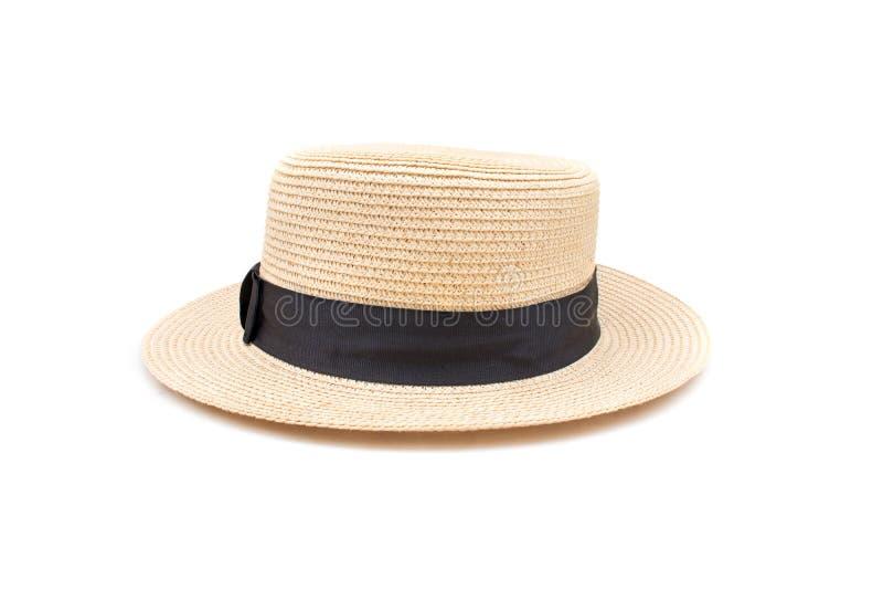 Brun vide- väva hatt som isoleras på vit bakgrund fotografering för bildbyråer