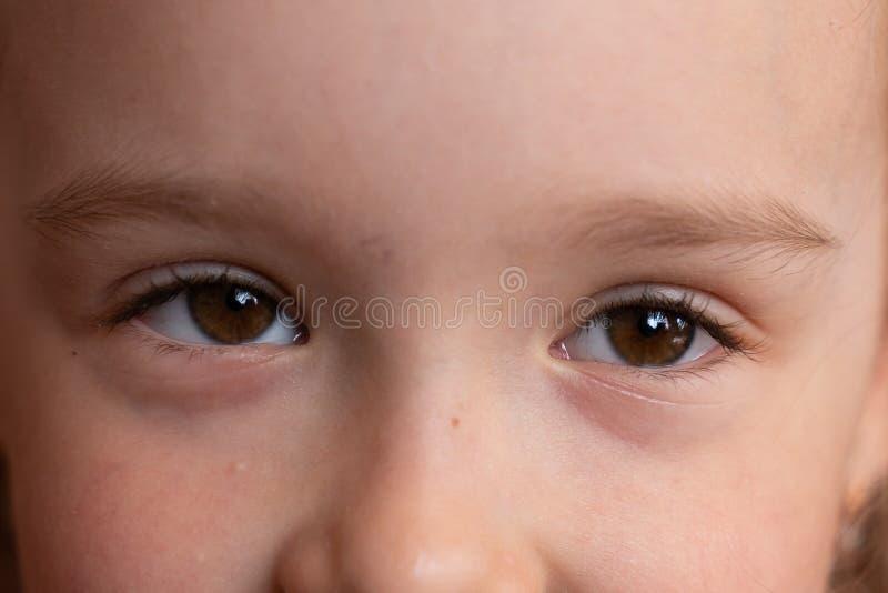 Bruna ögon av lite flickanärbilden St?ende f?r barn` s arkivbilder