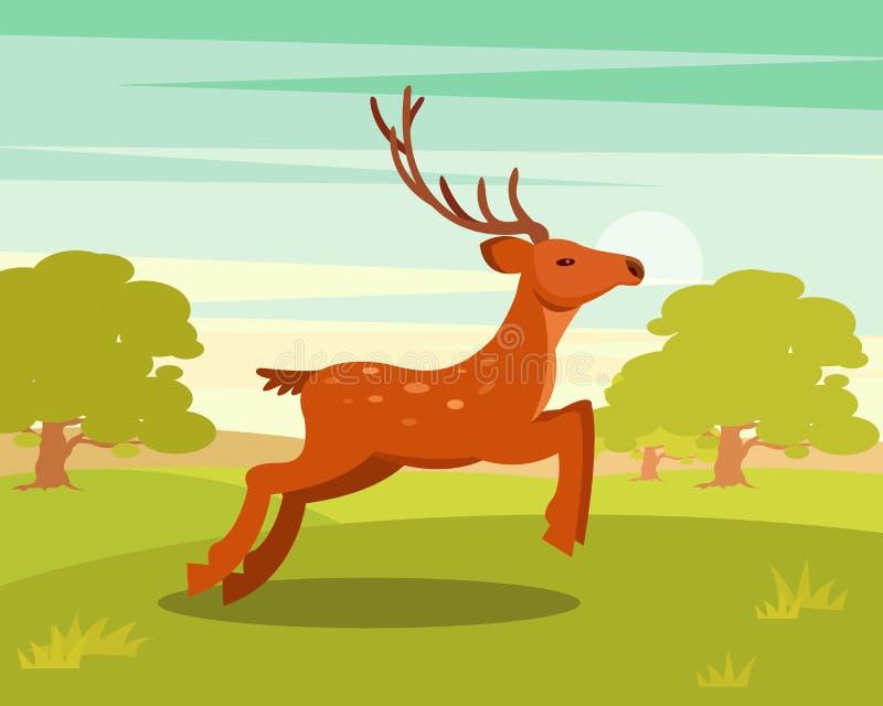 Bruna behagfulla hjortar med horn på kronhjort, det lösa djuret bland en bakgrund av den gröna ängen och skogvektorillustrationen royaltyfri illustrationer