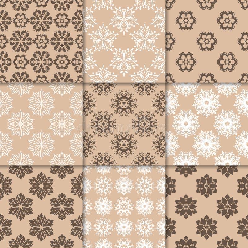 Bruna beigea blom- prydnader samlingen mönsan seamless vektor illustrationer