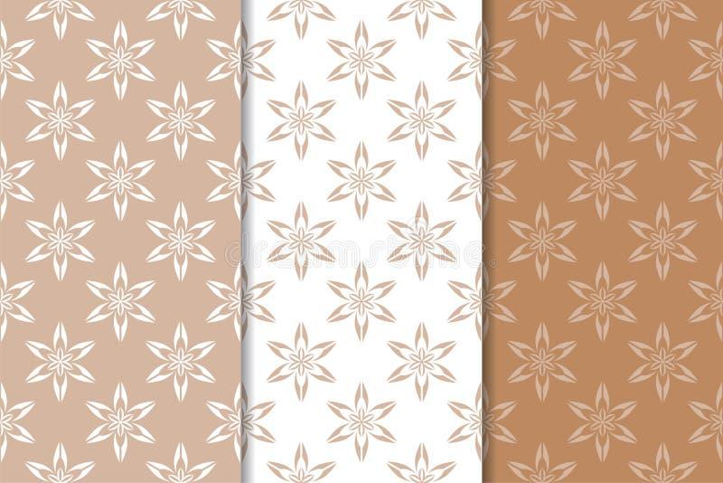 Bruna blom- bakgrunder mönsan den seamless seten vektor illustrationer