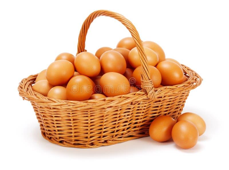 Bruna fega ägg i korg arkivfoton