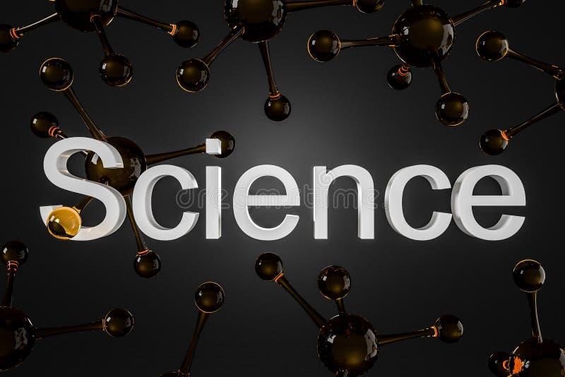 Bruna glansiga molekylar över svart, ordvetenskap stock illustrationer