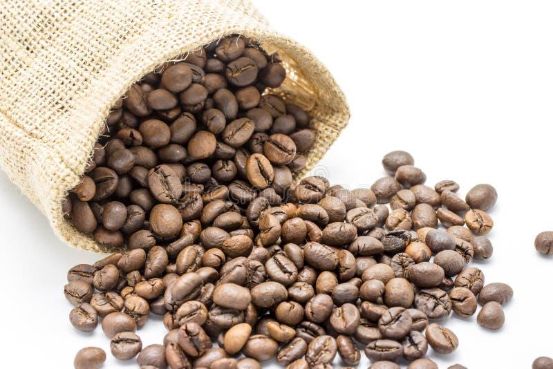 Bruna kaffebönor och påse royaltyfria foton