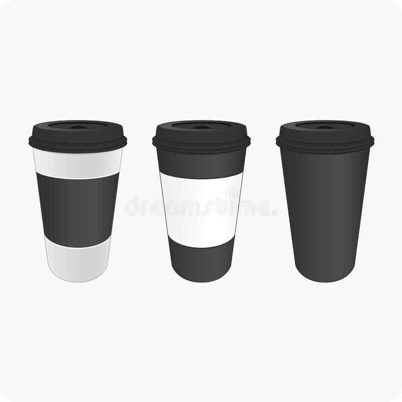 Bruna koppar för kaffe royaltyfri illustrationer