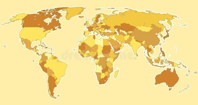 Bruna länder för världskarta royaltyfri illustrationer