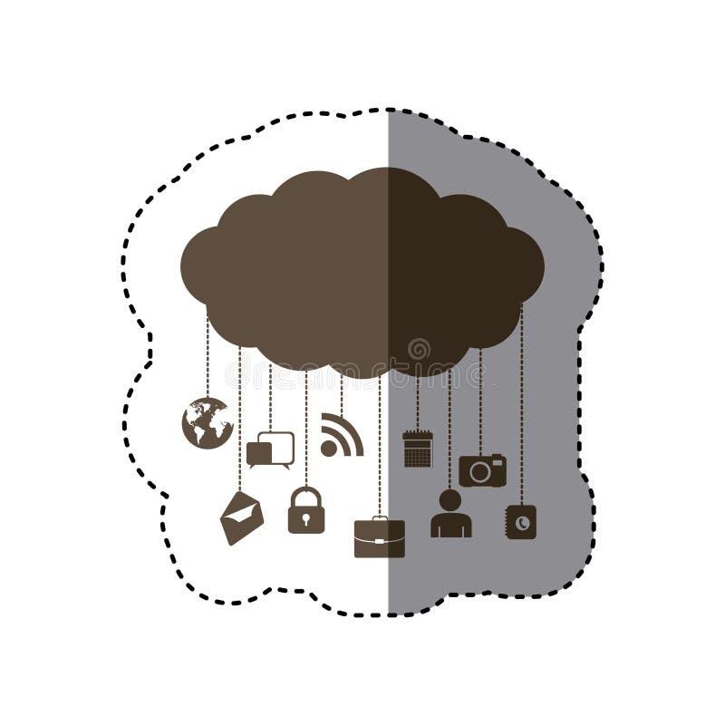bruna molndatatjänstapps stock illustrationer