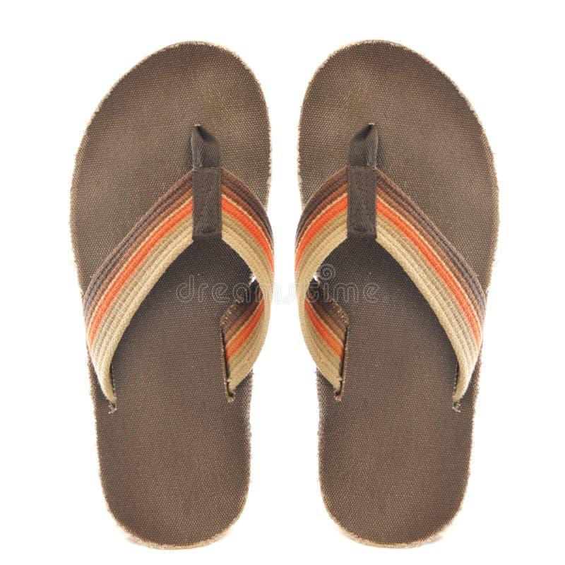 bruna orange retro sandals royaltyfria bilder