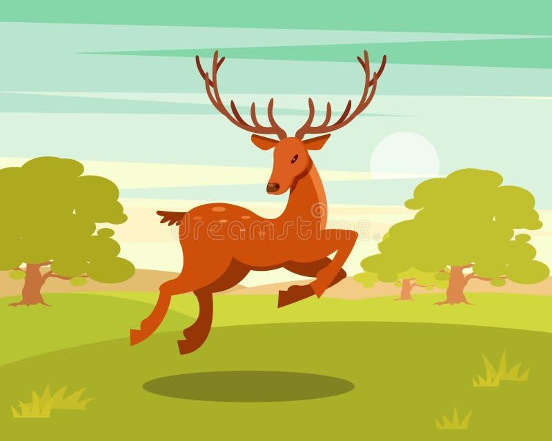 Bruna prickiga hjortar med horn på kronhjort som kör, det lösa djuret bland en bakgrund av den gröna ängen och skogvektorillustra vektor illustrationer