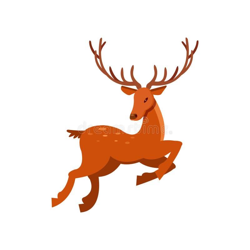 Bruna prickiga hjortar med horn på kronhjort som kör, för tecknad filmvektor för löst djur illustration stock illustrationer