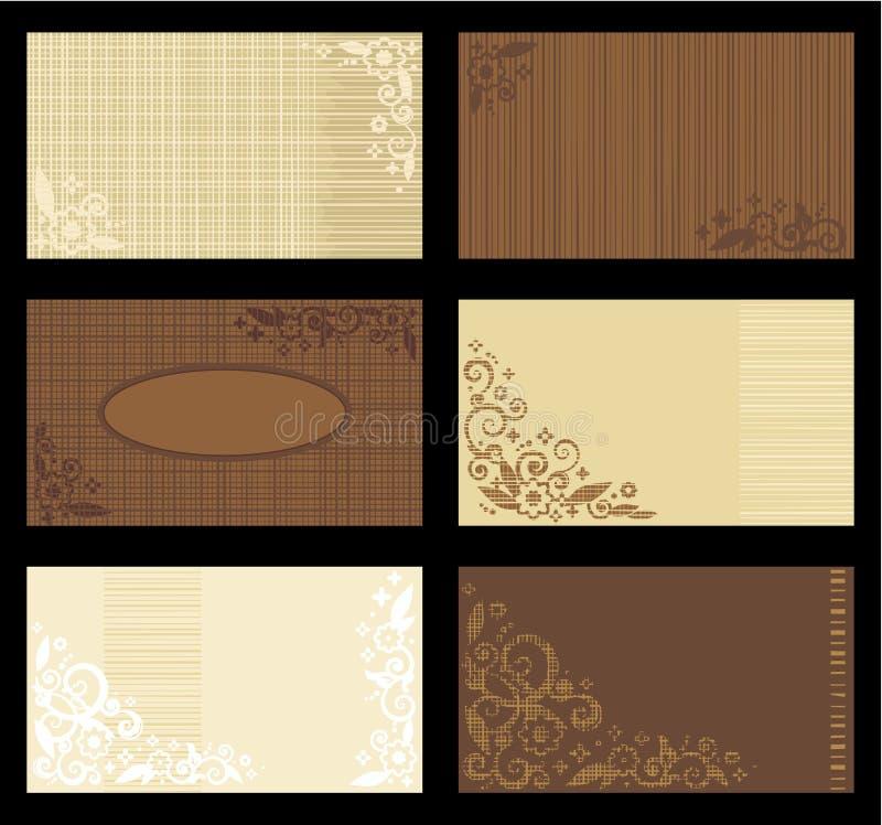 bruna solbrända mallar för affärskort stock illustrationer